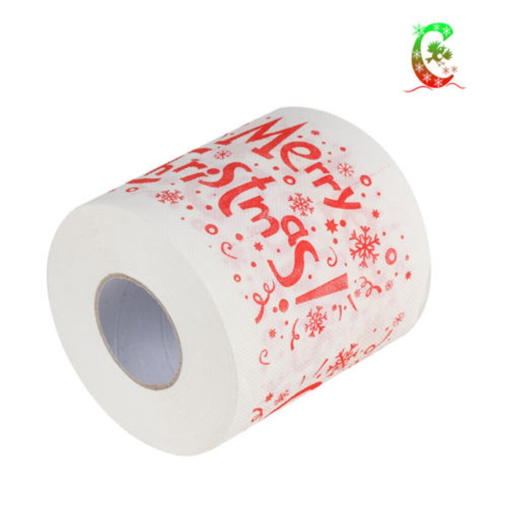 1Roll Merry Christmas Toilet Paper Supplies Printed Toilet Roll Paper Home Bath Living Room Toilet Paper Tissue Roll Xmas