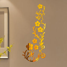 Load image into Gallery viewer, 3D Mirror Flower Art Acrylic Mural Decal Black Gold Silver Removable Wall Sticker Room Decor wall stickers creative diy *