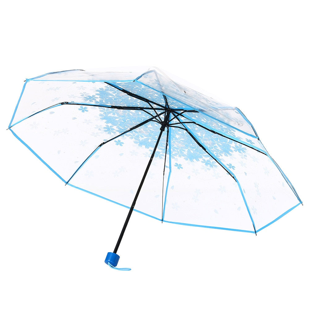 Transparent Clear Umbrella Cherry Blossom Mushroom Apollo Sakura 3 Fold Umbrella Sakura 3 Fold Umbrella women girl's Umbrella*