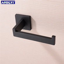Load image into Gallery viewer, Matte Black Toilet Paper Holder Wall Mount Tissue Roll Hanger 304 Stainless Steel Bathroom Accessories