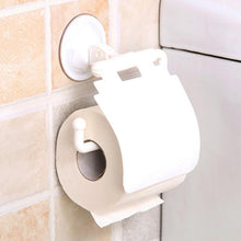 Load image into Gallery viewer, Toilet Paper Roll holder towel rack with lid Wall Mounted Plastic Suction Cup Bathroom Accessories Holder With Cover home