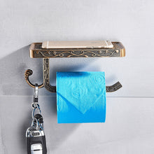 Load image into Gallery viewer, Rozin Zinc Alloy Bathroom Toilet Paper Holder Mobile Phone Holder With Shelf Bathroom Towel Rack Toilet Paper Rack Tissue Box