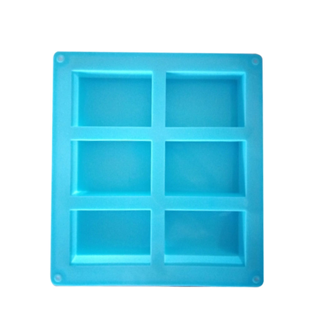 New 6-Cavity Rectangle Soap Mold Silicone Craft DIY Making Homemade Cake Mould 3D Plain Soap Mold Form Tray Baking ToolsC4