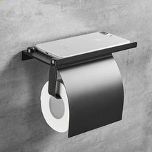Load image into Gallery viewer, Wall Mounted Black Toilet Paper Holder Tissue Paper Holder Roll Holder With Phone Storage Shelf  Bathroom Accessories