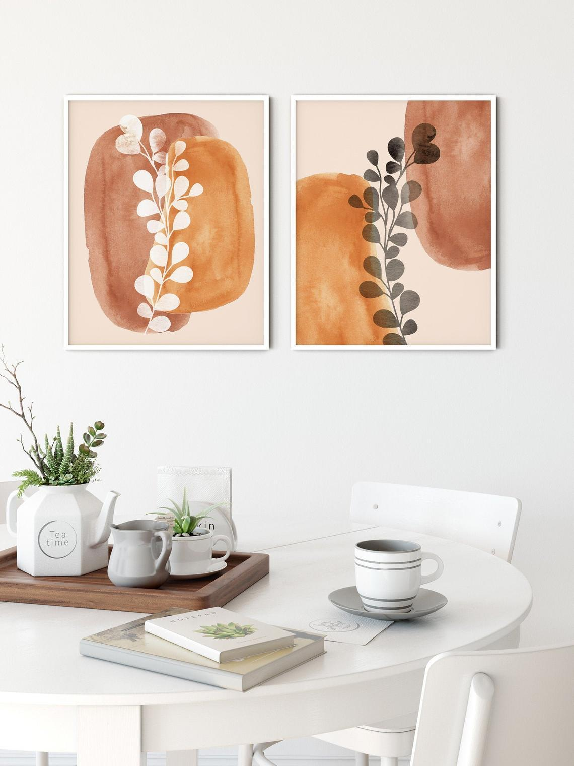 Mid-Century Modern Wall Art, Set of 2 Abstract Wall Art Prints