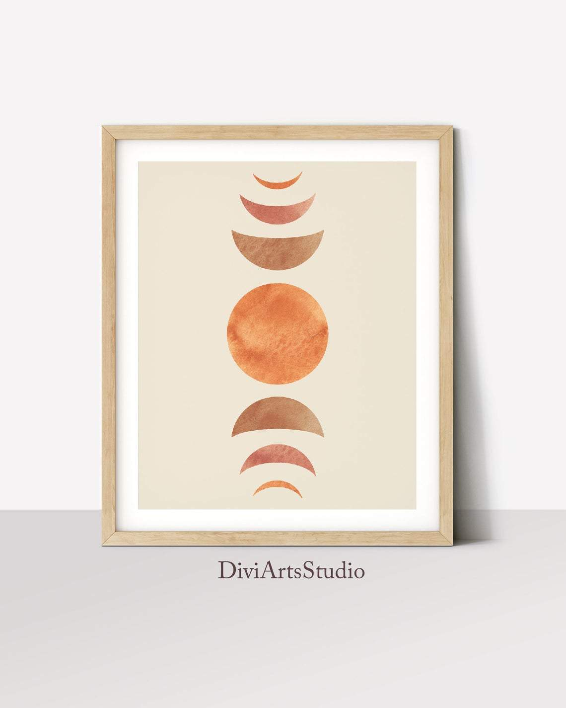 Moon Phases Wall Art Print, Mid-Century Modern Wall Art