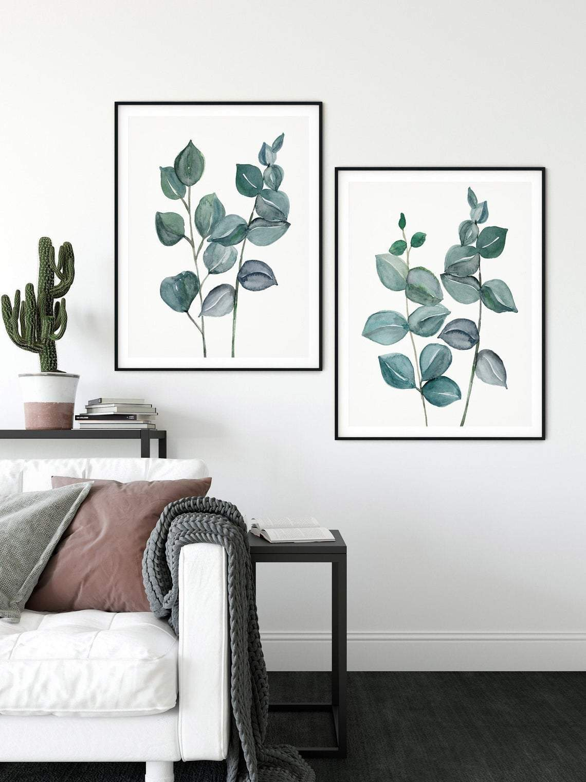 Eucalyptus Art Print Set, Green Leaf Wall Art