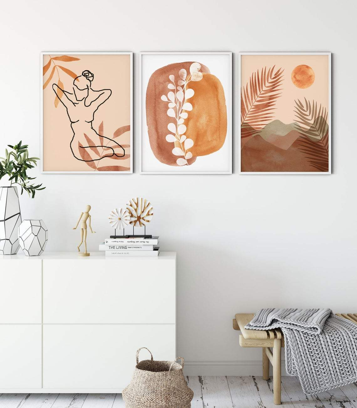 Set of 3 Mid-Modern Century Wall Art Prints, Abstract Boho Wall Arts