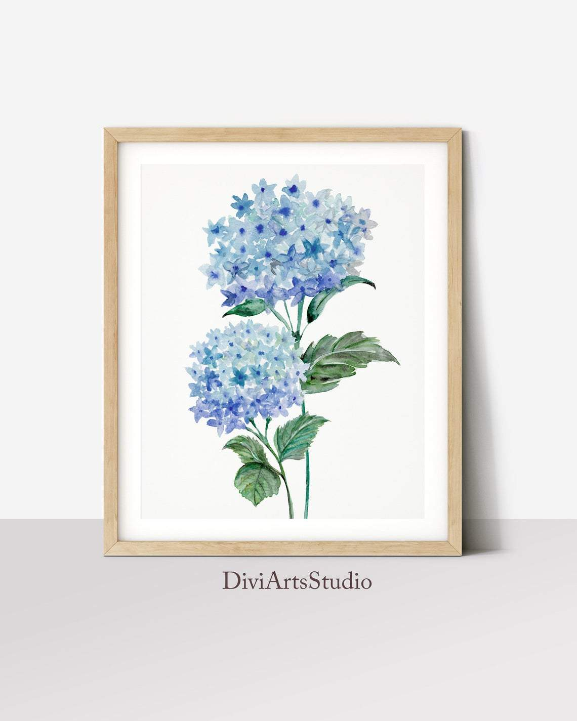 Blue Botanical Wall Art, Captivating Hydrangea Art Print