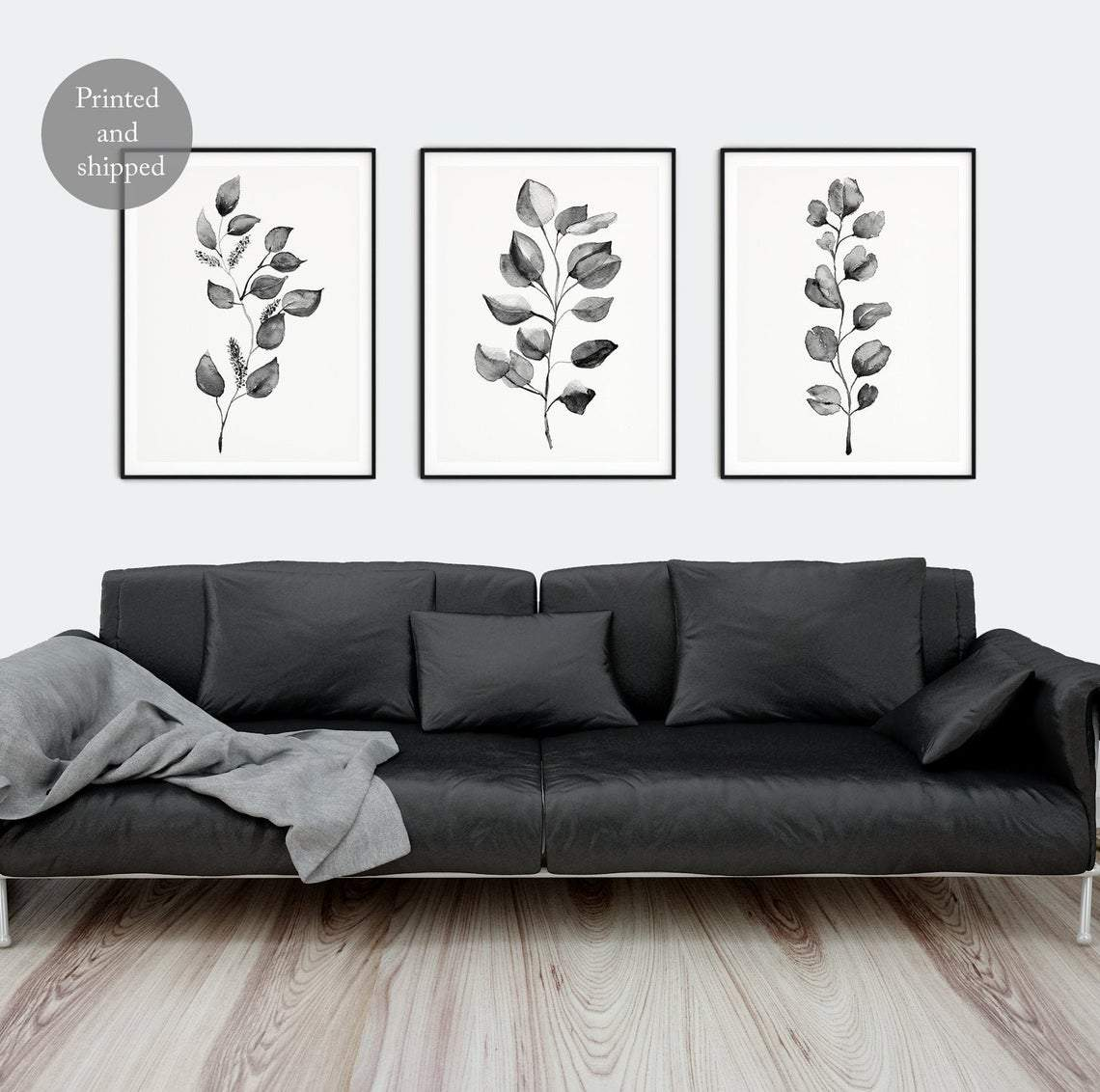 Eucalyptus Art Print, Set of 3 Black Leaf Wall Art