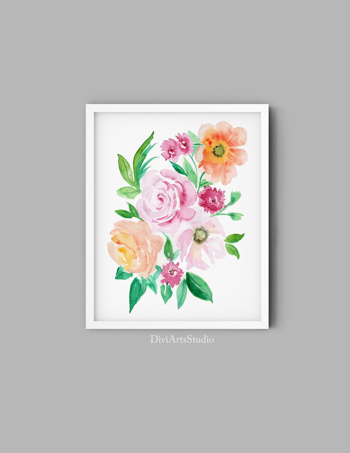 Beautiful Floral Art Print, Orange Pink Flowers Peonies Art Print