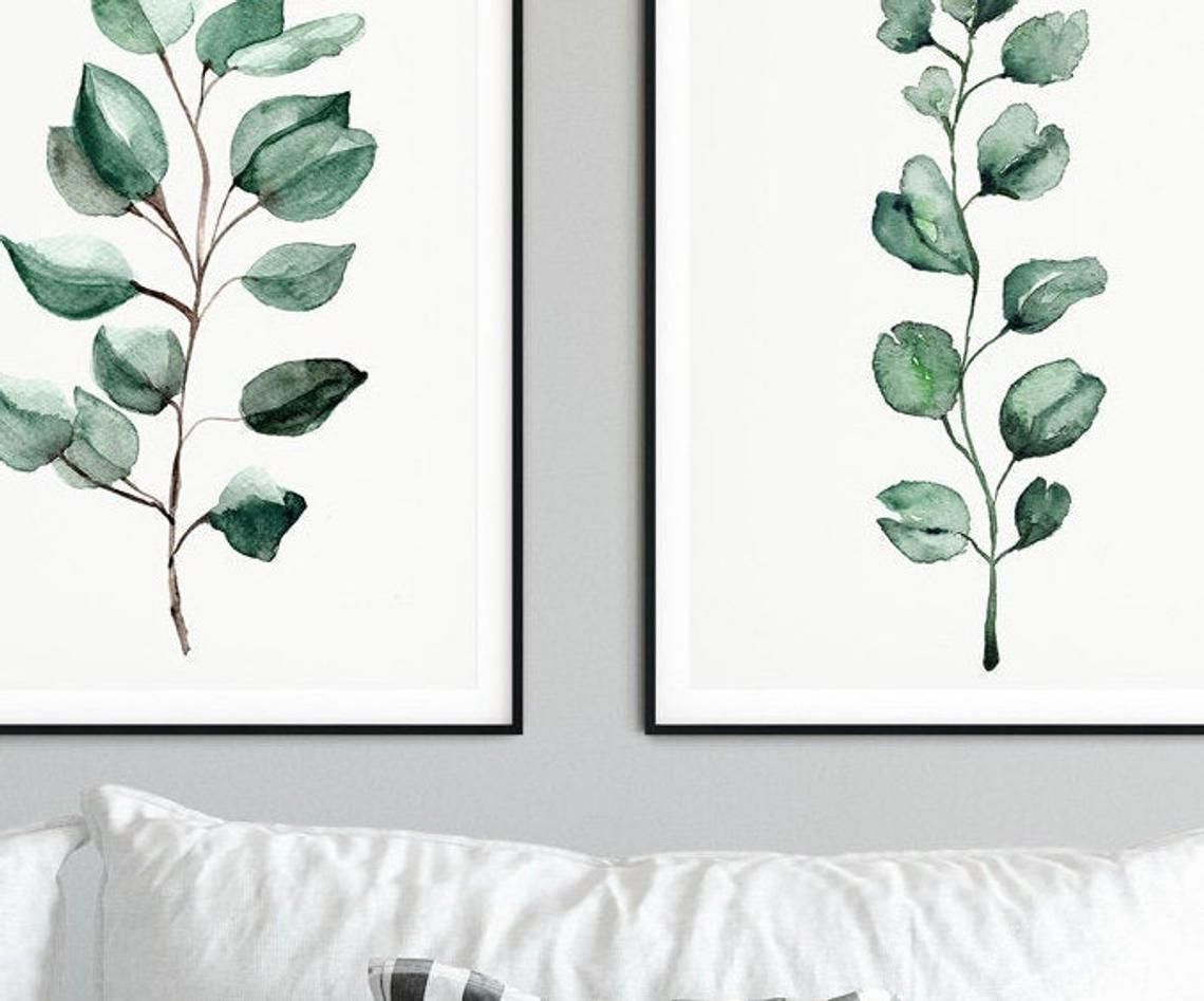 Green Eucalyptus Print Sets Wall Art, Botanical Print Wall Art, Green Wall Art Prints Set of 3