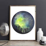 Celestial Art, Northern lights Print, Galaxy Wall Art