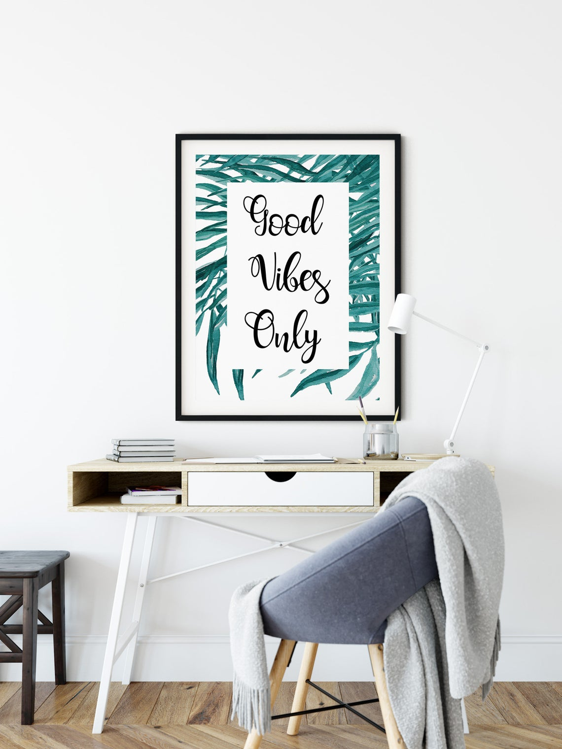 """Good Vibes Only"" Motivational Poster, Positive Quote Wall Art"