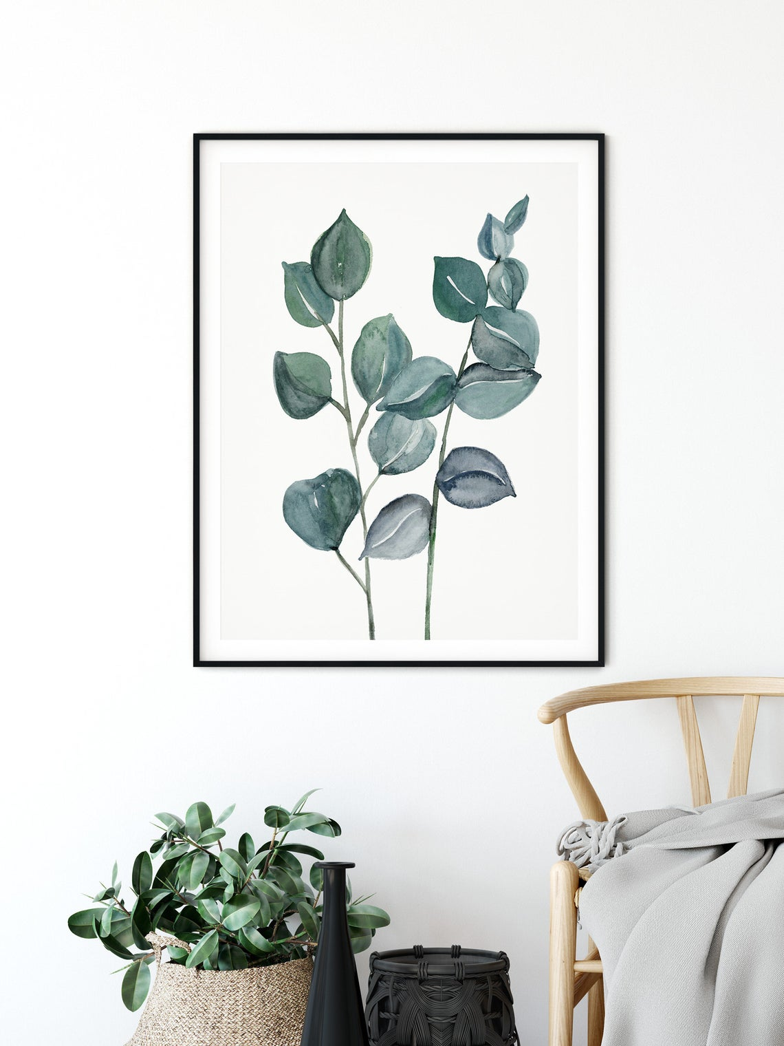 Eucalyptus Print Wall Art, Green Botanical Leaf Art