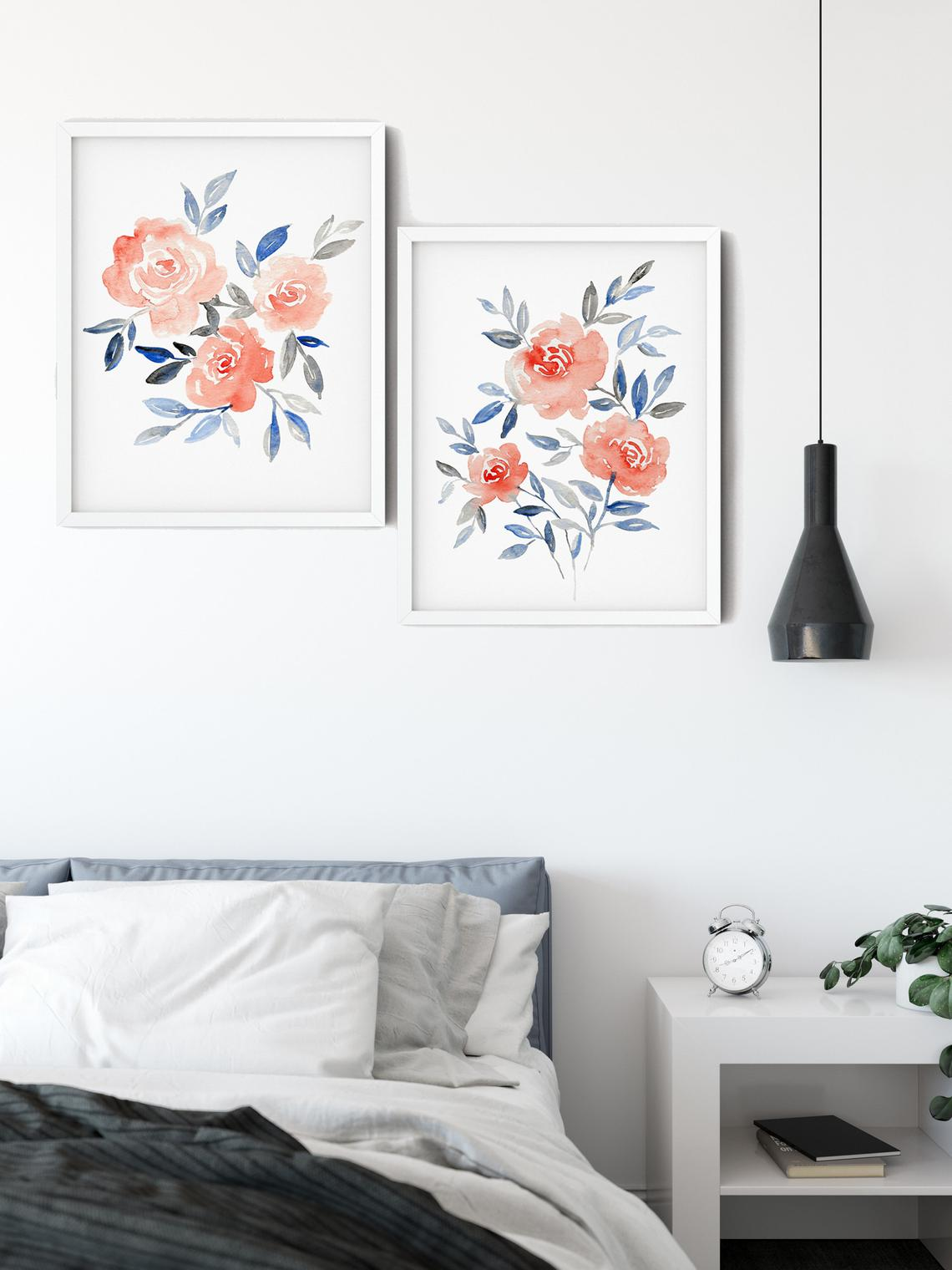 Floral Wall Art, Floral WaterColour Wall Art, Set of 2