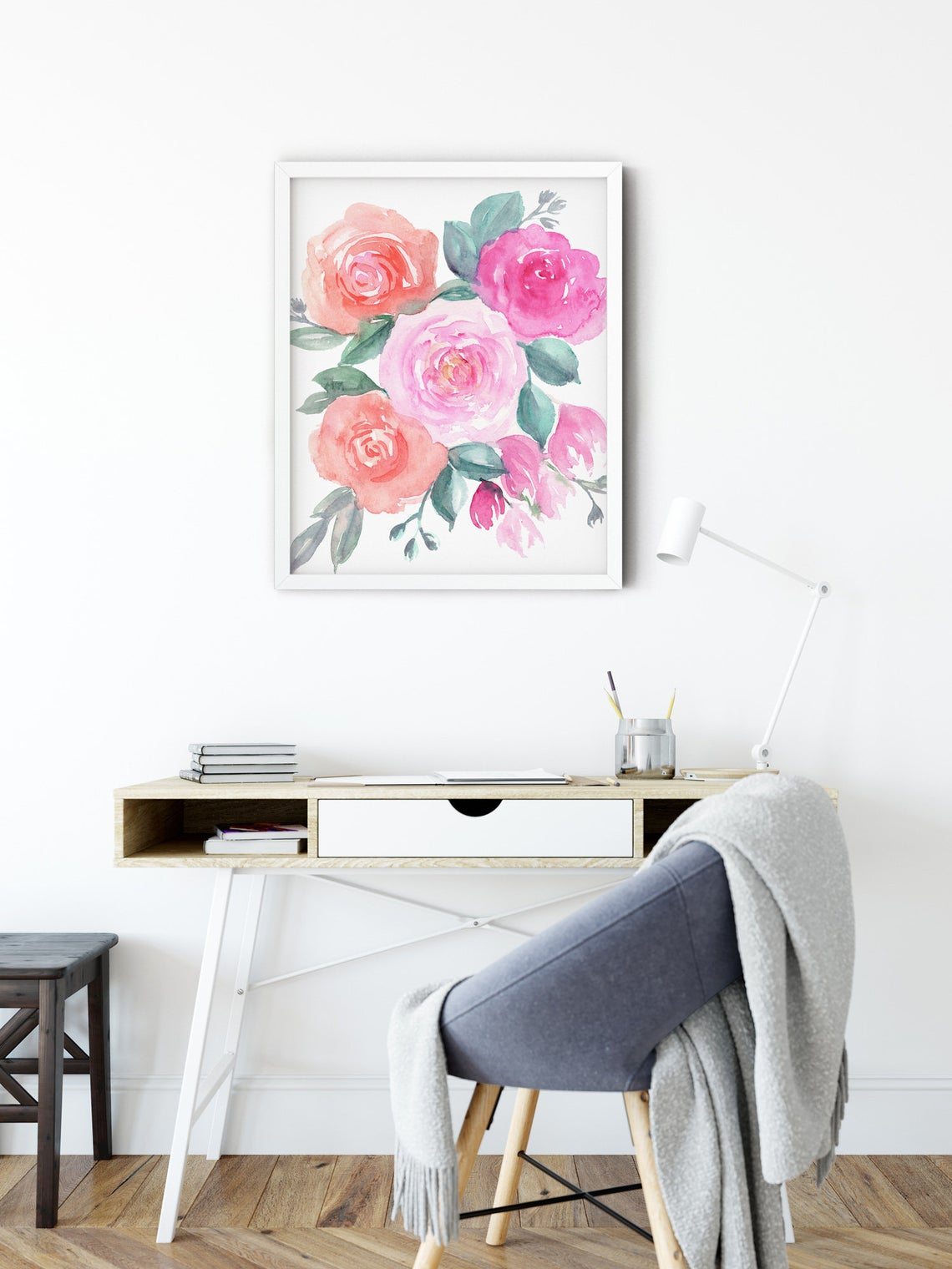 Floral Wall Art, Pink and Orange Roses Art Print