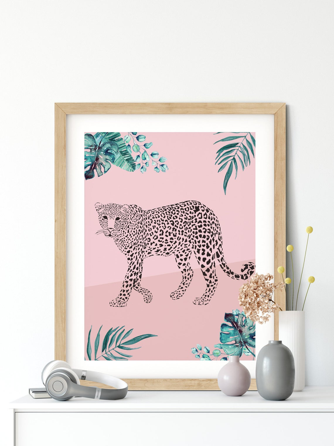 Leopard Wildlife Wall Art, Set of 2 Blush Pink Wall Art