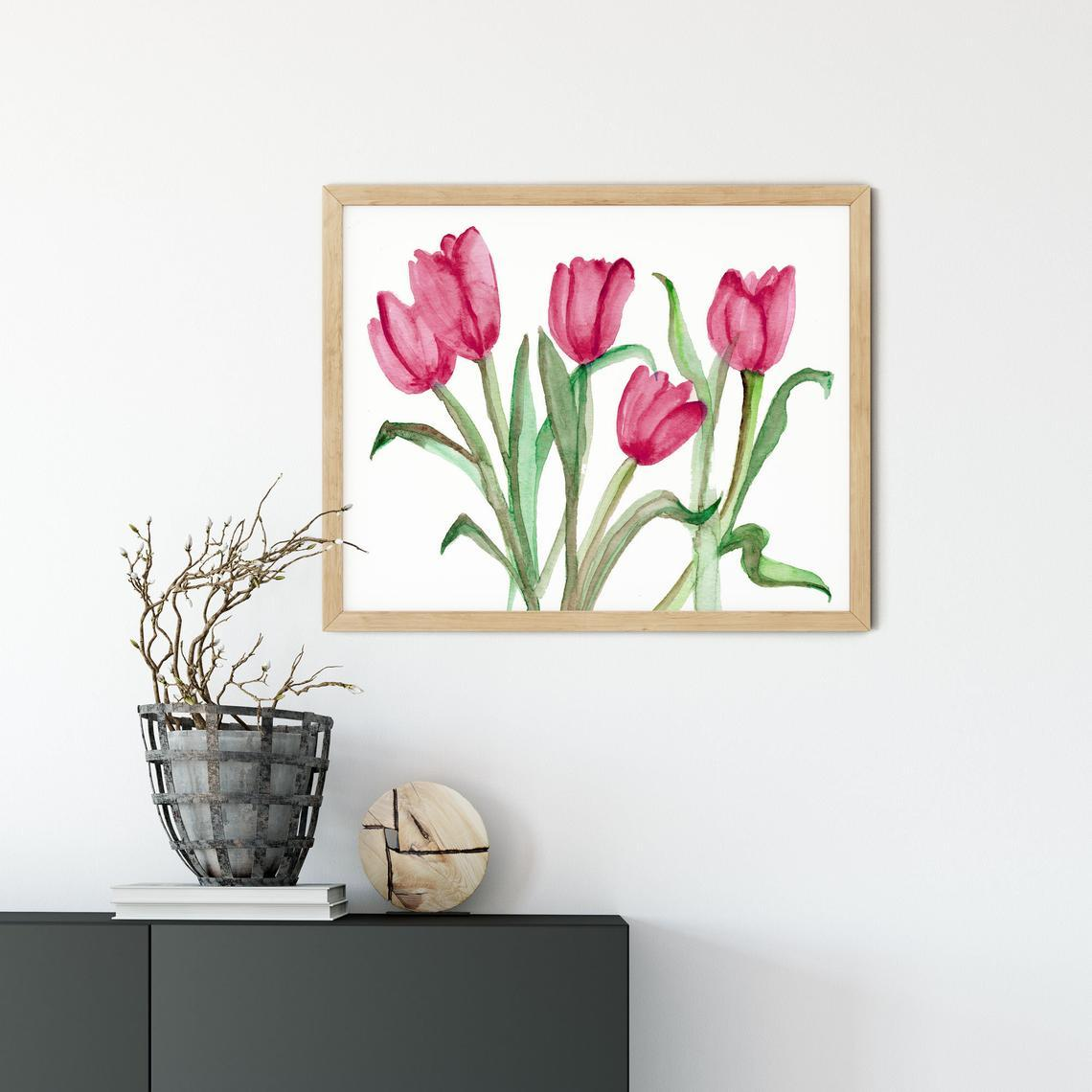 Pink Tulip Bedroom Wall Art, Pink Tulip Wall Art