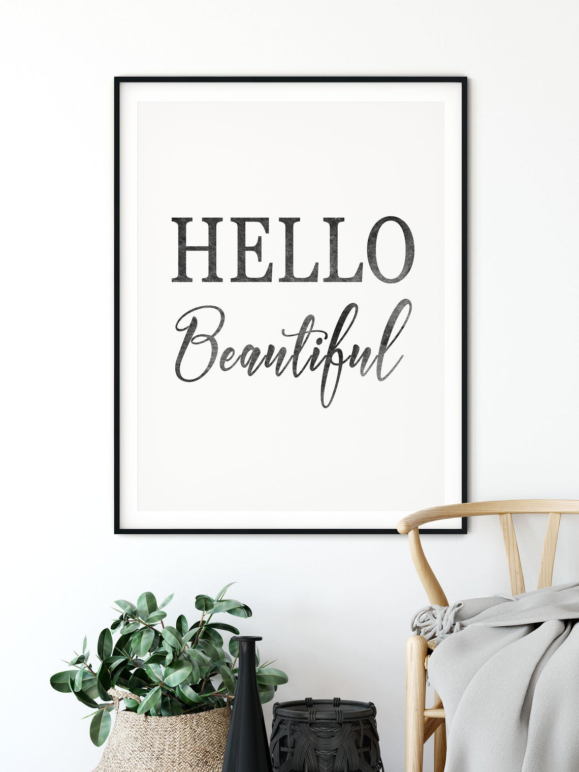 Positive Quotes Poster, Hello Beautiful Print