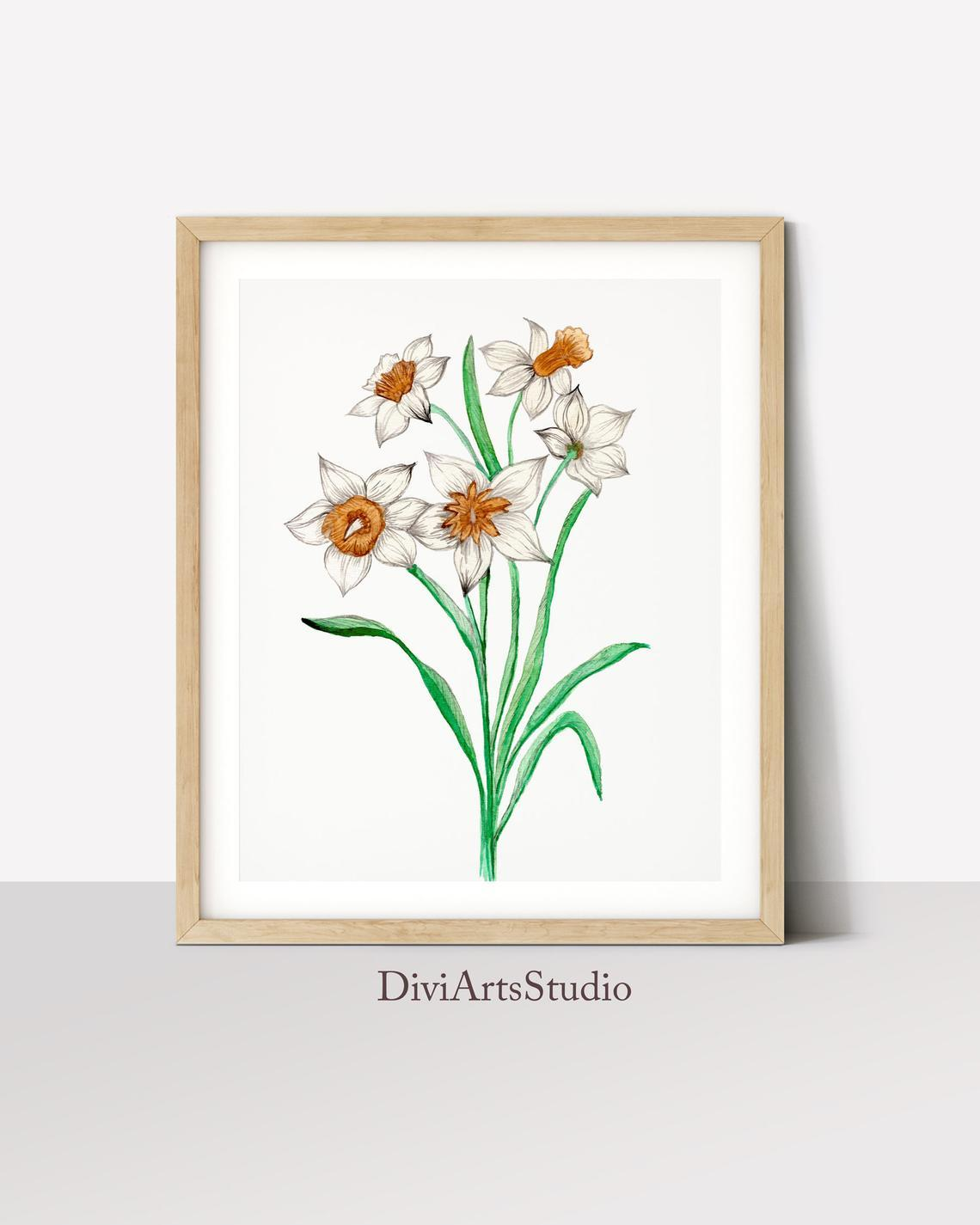 Spring Floral Art, White Flower Wall Art Print