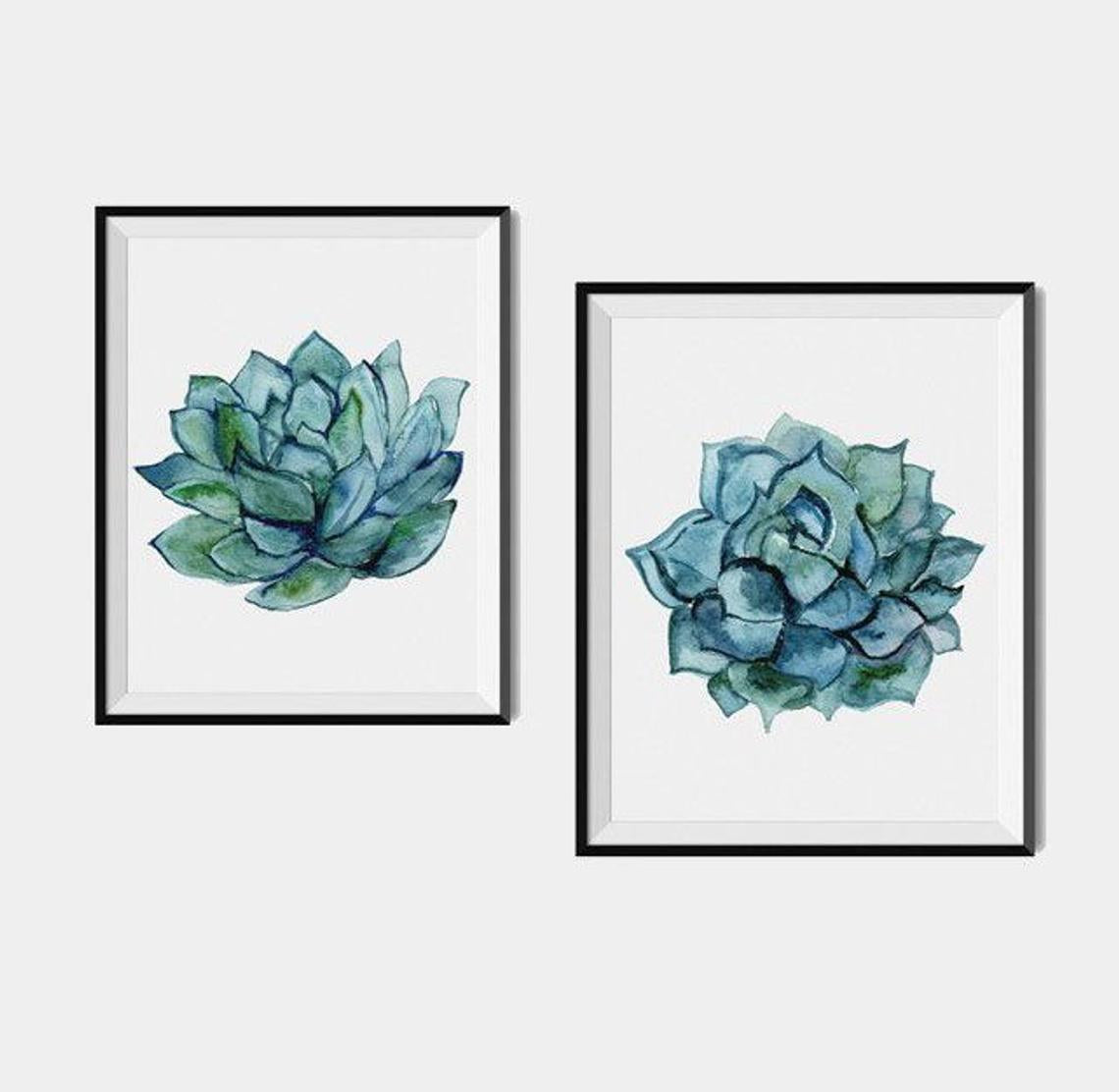 Succulent Flower Wall Art, Set of 2 Printed Wall Arts