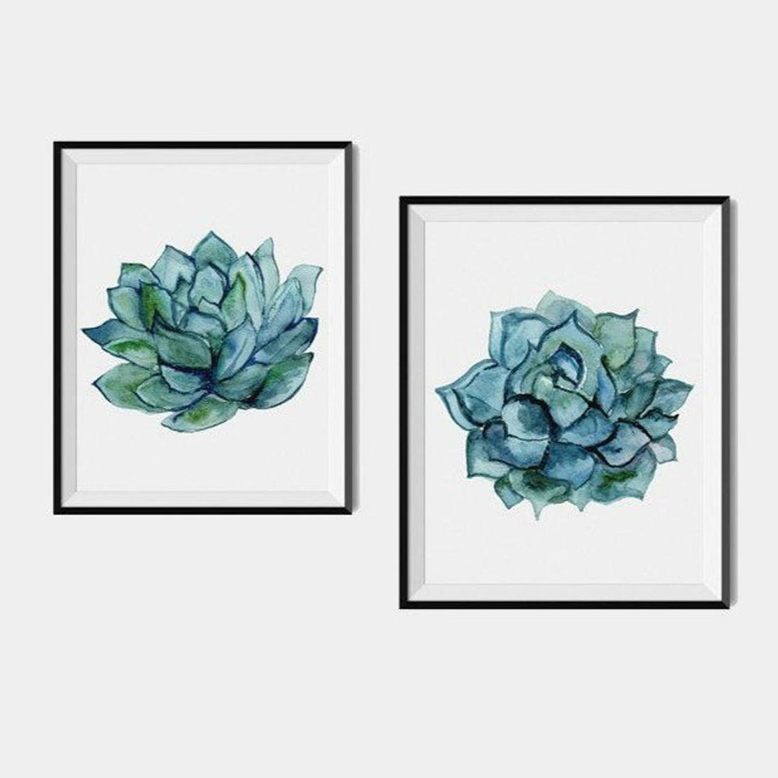 Succulent Wall Art, Cactus Art Print Set of 2 Prints