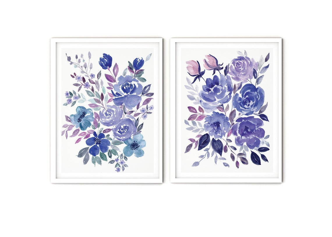 Watercolour Blue Floral Wall Art, Set of 2 Blue Floral Prints Wall Art