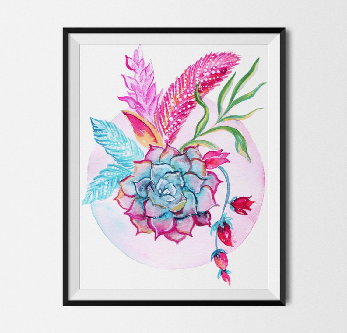 Watercolour Floral Flowers Print, Boho Girl Wall Art