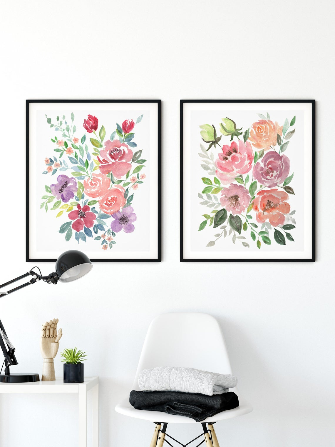 Watercolour Floral Print Roses Art, Floral Wall Art, Set of 2 Prints