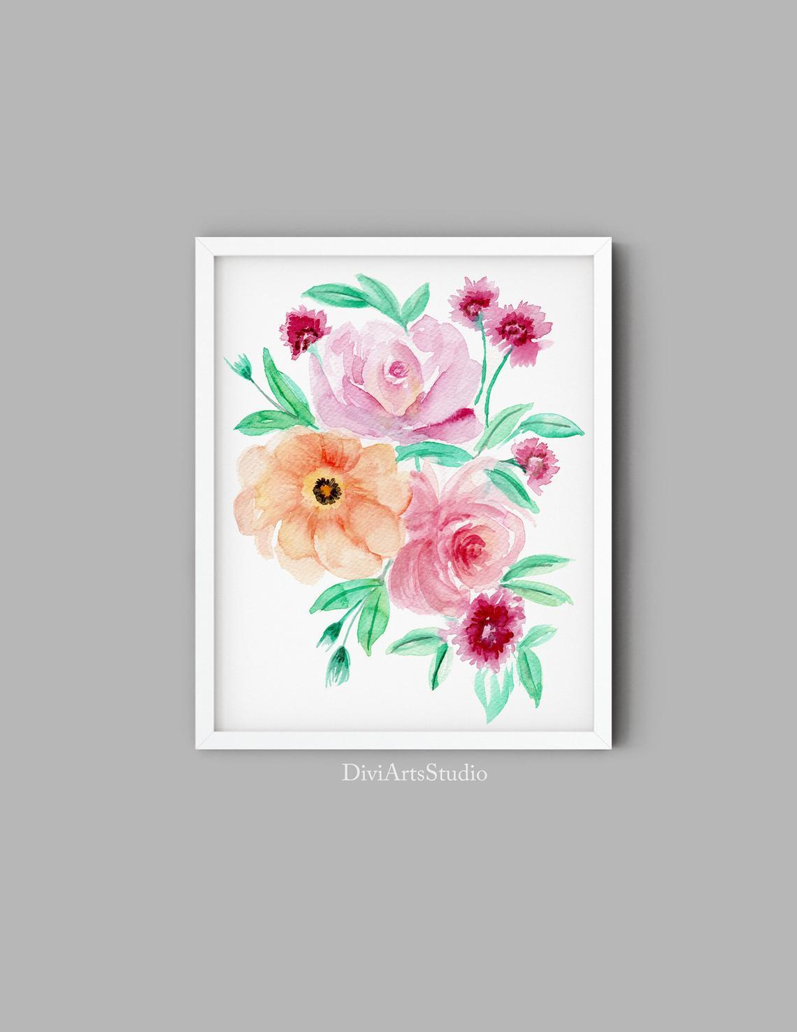 Watercolour Floral Wall Art Print, Peonies Floral Art Print