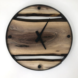 "18"" Black Walnut Live Edge Wood Clock"