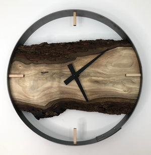 "18"" Black Walnut Live Edge Wood Wall Clock"