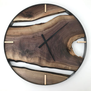 "25"" Black Walnut Live Edge Wood Wall Clock"
