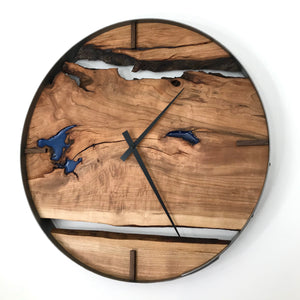 "21"" Black Cherry Live Edge Wood Wall Clock"