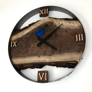 "18"" Black Walnut Live Edge Wood Wall Clock ft. Blue Epoxy Inkay"