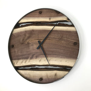 "21"" Black Walnut Live Edge Wood Clock"