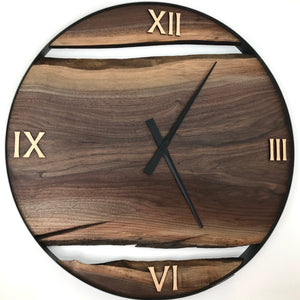 "RESERVED // 34"" Black Walnut Live Edge Wood Wall Clock"
