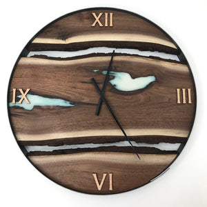 "25"" Black Walnut Live Edge Wood Clock ft. Green Pearl Epoxy Inlay"