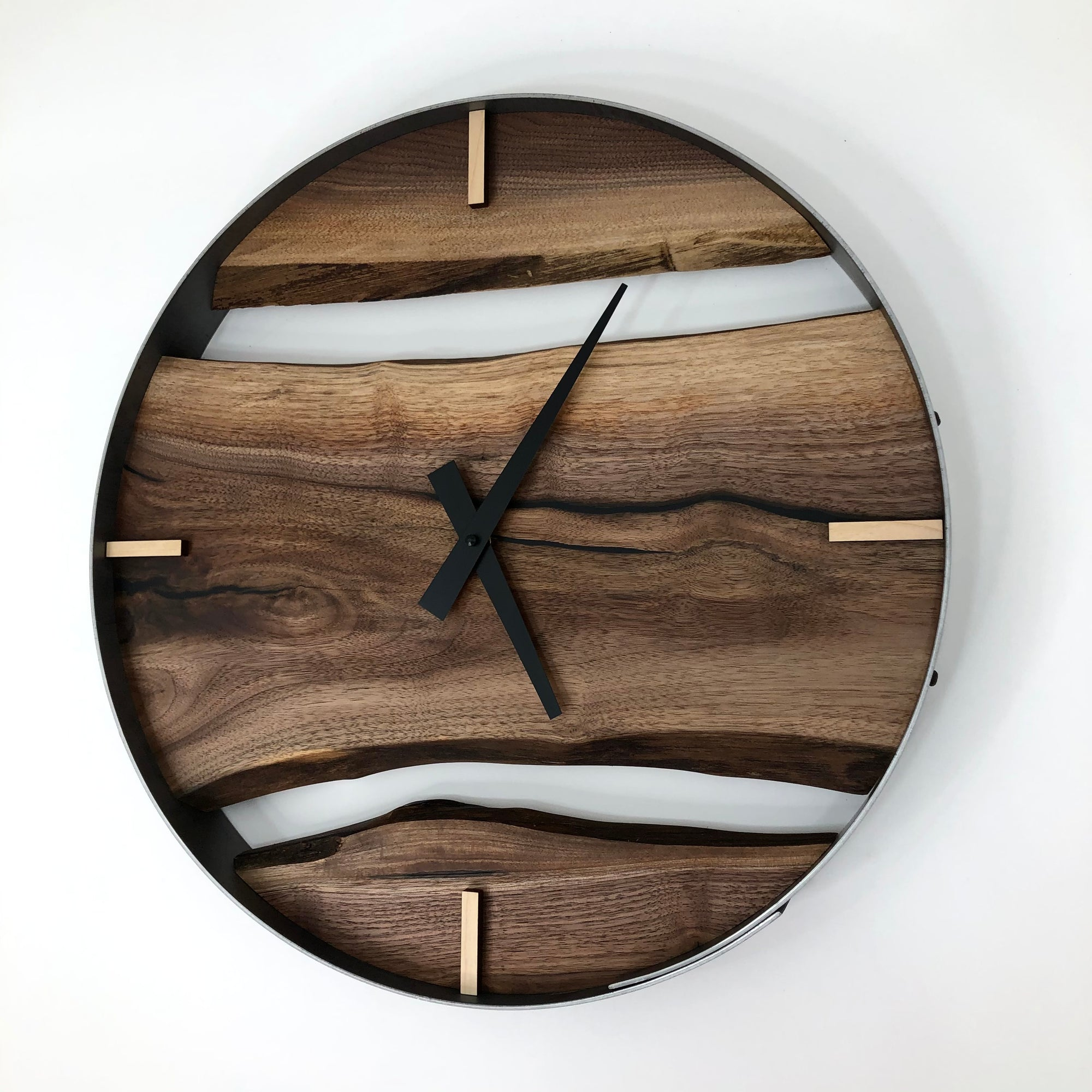 "18"" Black Walnut Live Edge Wood Clock ft. Black Epoxy Inlay"