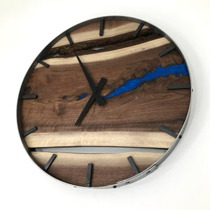 "RESERVED FOR NT // 18"" Black Walnut Live Edge Wood Clock ft. Blue Epoxy Inlay"