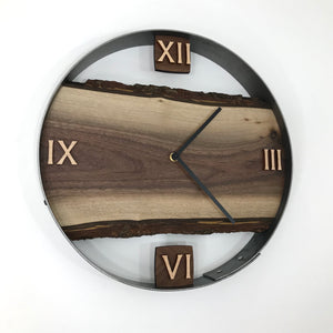 "14"" Black Walnut Live Edge Wood Wall Clock"