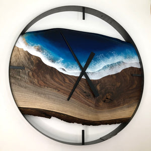 "30"" Life's a Beach Live Edge Black Walnut Wall Clock"
