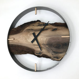"18"" Black Walnut Live Edge Wood Wall Clock ft. Turquoise Epoxy Inkay"