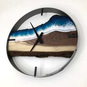 "18"" Life's a Beach Live Edge Black Walnut Wall Clock"
