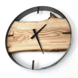 "18"" Ash Live Edge Wood Wall Clock"