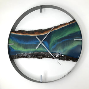 "25"" Northern Lights Live Edge Maple Wood Wall Clock"