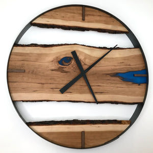 "30"" Cherry Live Edge Wood Clock ft. Maui Blue Epoxy Inlay"
