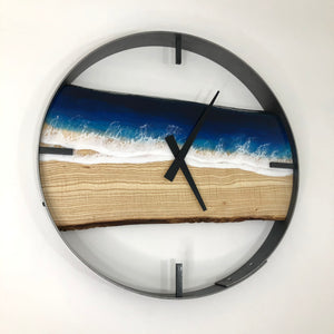"18"" Life's a Beach Live Edge Ash Wood Wall Clock"