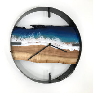 "14"" Life's a Beach Live Edge Cherry Wood Wall Clock"
